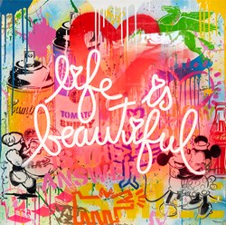 Life is a Comic Book by Mr. Brainwash - Neon Light and mixed media in plexi glass box sized 30x30 inches. Available from Whitewall Galleries